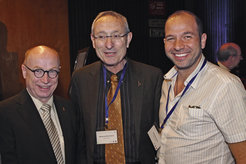 Exchange in Israel: Martin Stratmann, President of the Max Planck Society, with Menachem Ben Sasson, President of Hebrew University Jerusalem, and scientists Oded Aharonson in the year 2012 (from left).