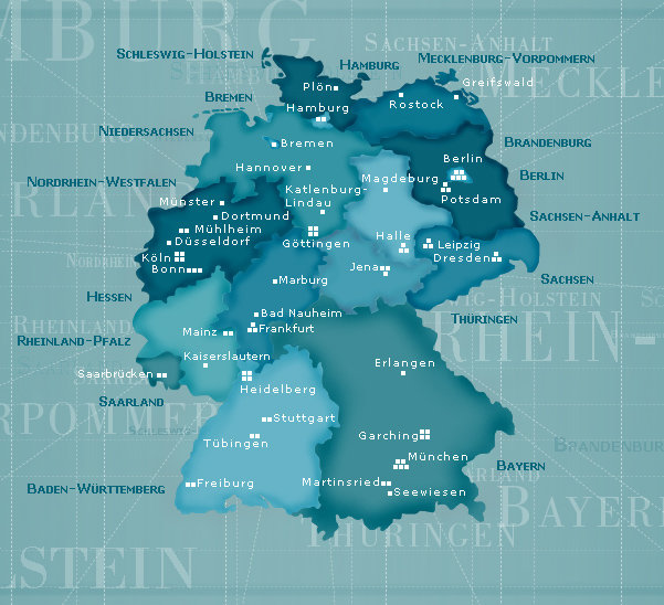 Map of Germany with locations of Max Planck Institutes