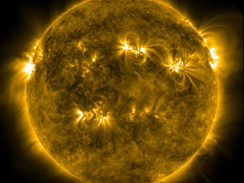 Stormy star: The Sun resembles a gigantic ball of gas whose activity is driven by strong magnetic fields. This image was taken by NASA's Solar Dynamics Observatory satellite.