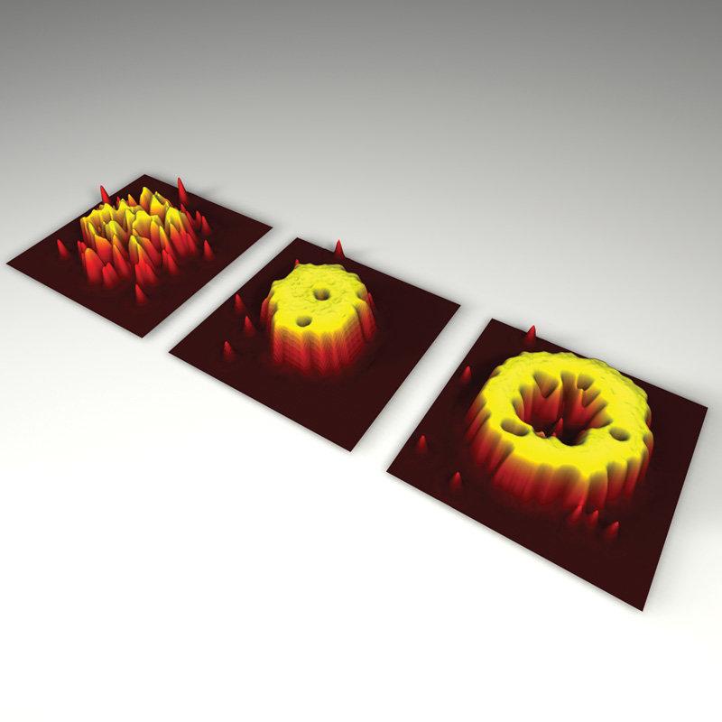 <b>Bild 1 | Dichteverteilungen auf atomarer Ebene. </b>Das Bose-Einstein-Kondensat (links) zeigt große Dichteschwankungen, während diese in dem Mott-I
