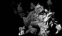 <p>Selfie der Sonde: Dieses Bild sendete Philae nach der Landung auf dem Kometen 67P/Churyumov-Gerasimenko. Im Vordergrund einer der drei F&uuml;&szli