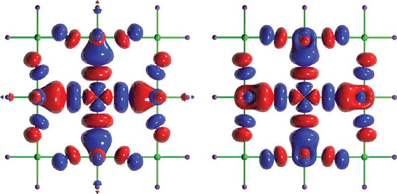 <b>Bild 2 | Wellenfunktionen von Valenzelektronen in einem Supraleiter und in einem künstlichen Übergitter.</b> Dotiertes La<sub>2</sub>CuO<sub>4</sub