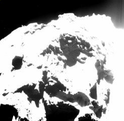 Some of the observed pits are active. OSIRIS, the scientific imaging system on board Rosetta, took this image in October 2014 from a distance of seven