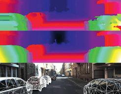 In einer Tiefenkarte sind Entfernungen durch verschiedene Farben codiert (gelb – nah; blau – entfernt). Bei der Einschätzung von Dist